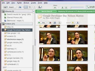 Picasa - galerie snímků umožňuje rychlé vyhledávání (textové pole vpravo nahoře, výsledky se zobrazjí hned, jak začnete psát)